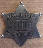 Sheriff State of Texas Presidio County badge